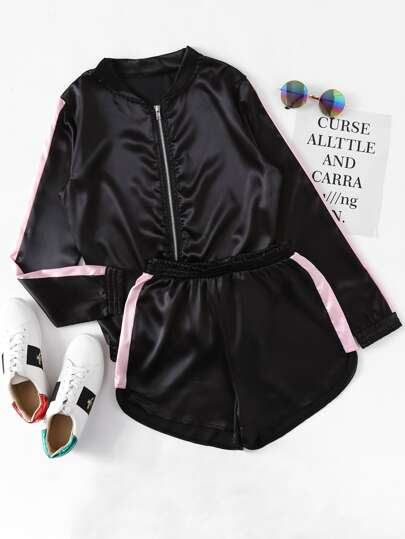 Satin Contrast Panel Side Jacket With Shorts