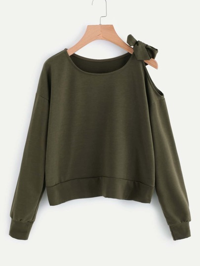 Open Shoulder Self Tie Sweatshirt