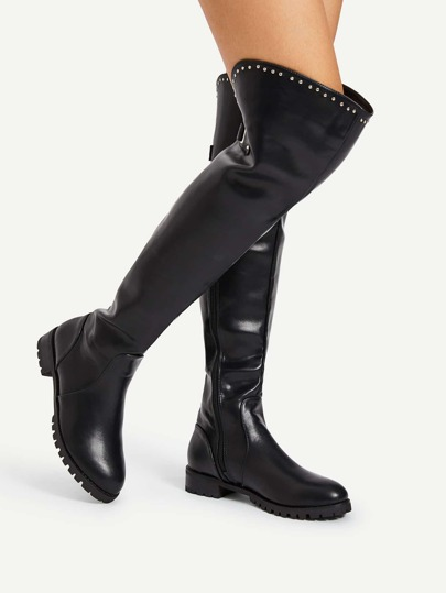 Studded Detail Over The Knee PU Boots