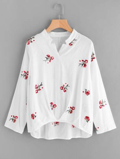 Flower Embroidered Pleated Dip Hem Blouse