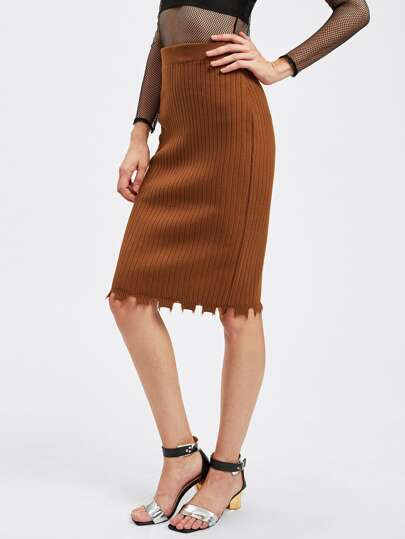 Rib Knit Raw Edge Pencil Skirt