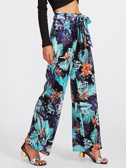 Pantaloni con stampa tropicale