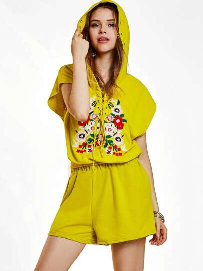 Grommet Lace Up Hoodie With Shorts