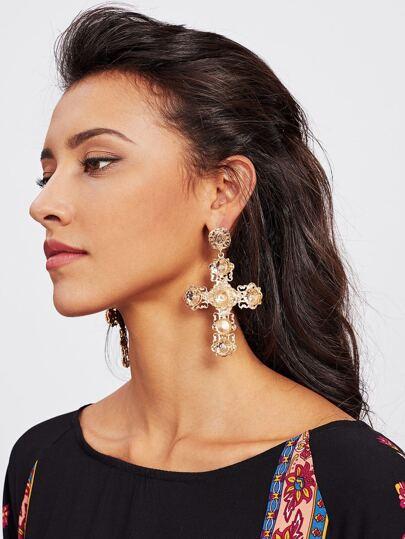 Unique Cross Design Drop Earrings