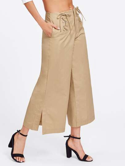 Criss Cross Detail Wide Leg Pants