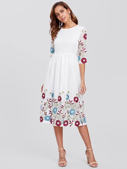 Botanical Embroidered High Waist Dress