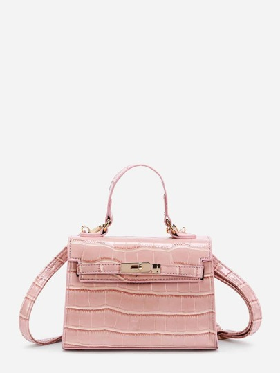 Crocodile Print PU Shoulder Bag