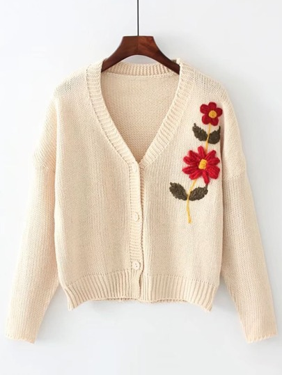 Contrast Crochet Flower Button Up Cardigan