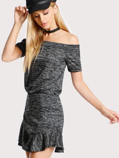 Off Shoulder Ruffle Hem Dress GREY