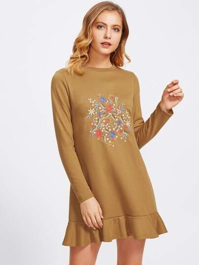 Botanical Embroidered Front Frill Hem Dress