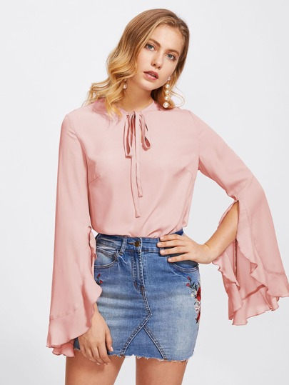 Tie Neck Frilled Fluted Sleeve Blouse