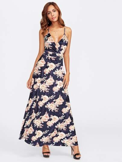 Crisscross Back Surplice Floral Velvet Cami Dress