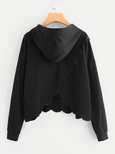 Overlap Back Scalloped Hoodie