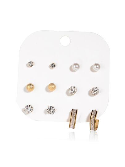 Faux Pearl & Rhinestone Design Stud Earring Set