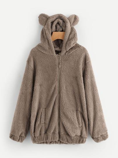 Chaqueta con capucha de lana artificial
