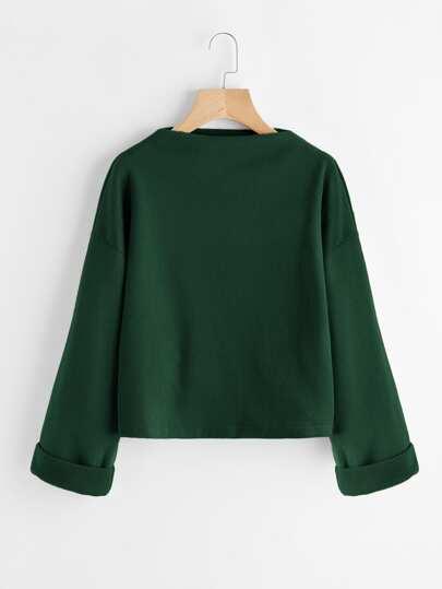 Drop Shoulder Ribbed Cuffed Sweatshirt