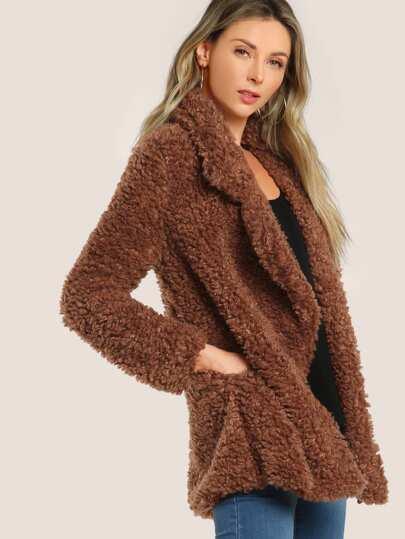 Faux Fur Long Sleeve Coat RUST