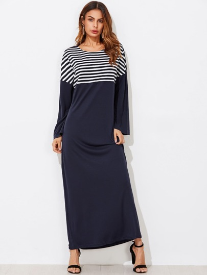 Drop Shoulder Striped Panel Tee Dress