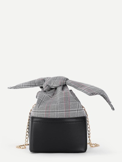 Gingham Print Two Tone Chain Bag
