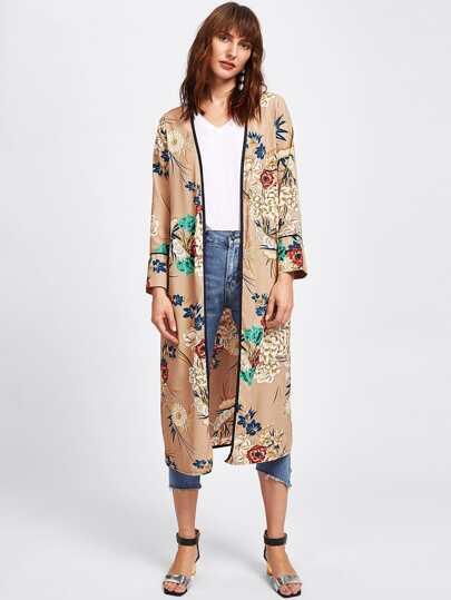 Kimono avec lacet de taille imprimé plante