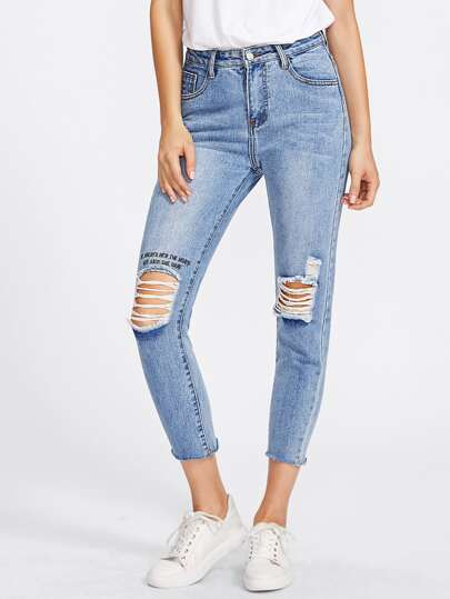 Embroidered Frayed Bleach Wash Jeans