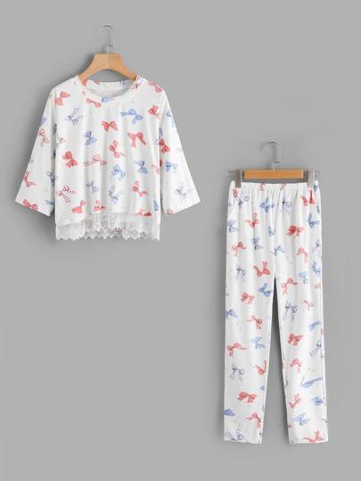 Bow Print Lace Contrast Pajama Set