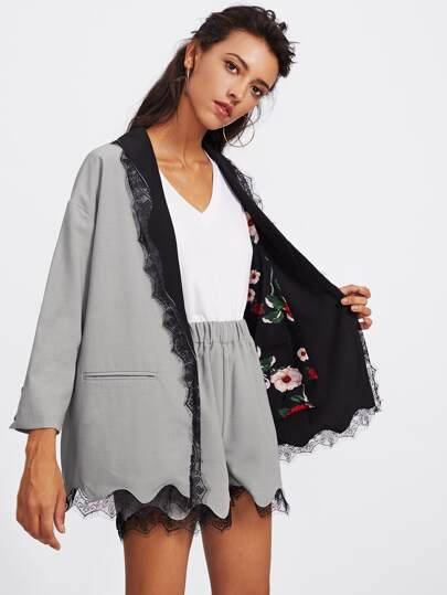 Contrast Scallop Eyelash Lace Blazer With Shorts