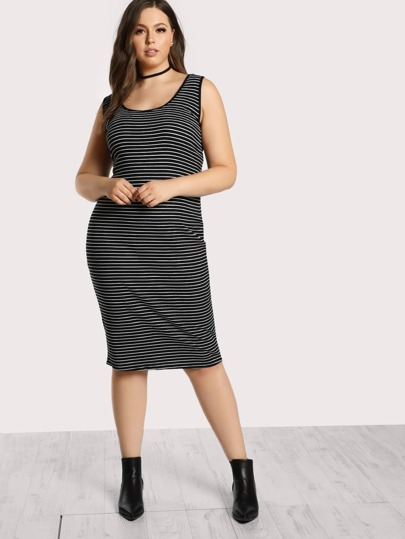 Striped Ribbed Tank Dress