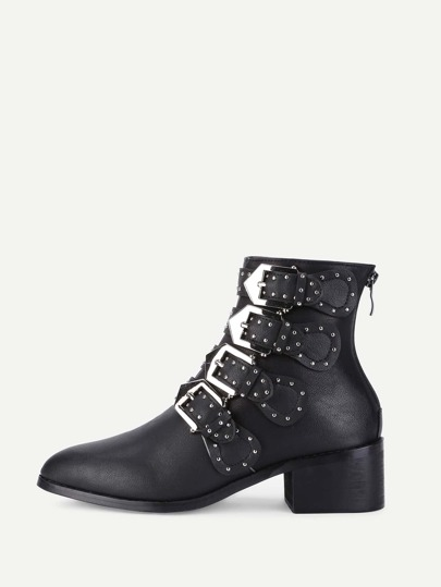 Studded Buckle Front PU Ankle Boots