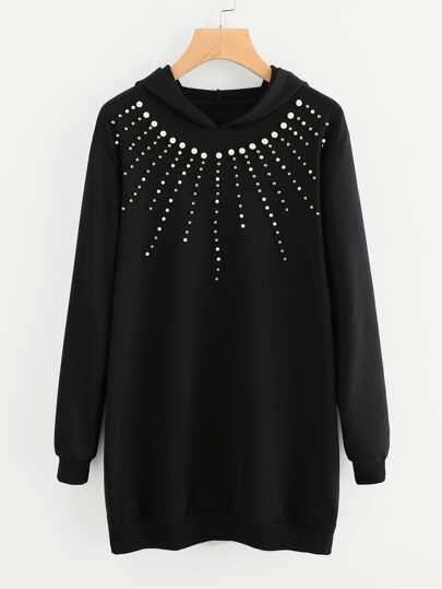 Модное платье-свитшот с капюшоном и бусинами