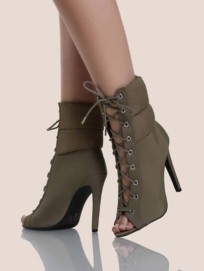 Lace Up Puffer Heel Boots KHAKI