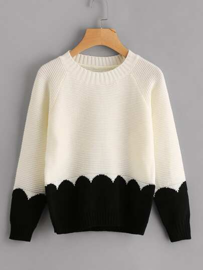 Contrast Panel Raglan Sleeve Chunky Knit Jumper