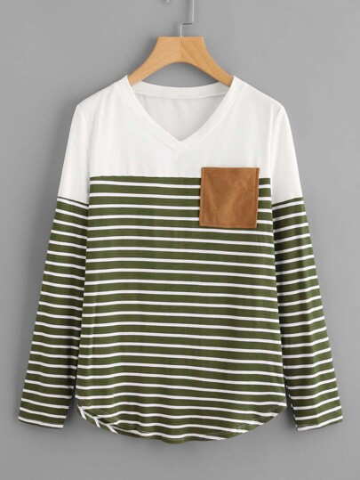 Suede Pocket And Elbow Patch Striped Tee