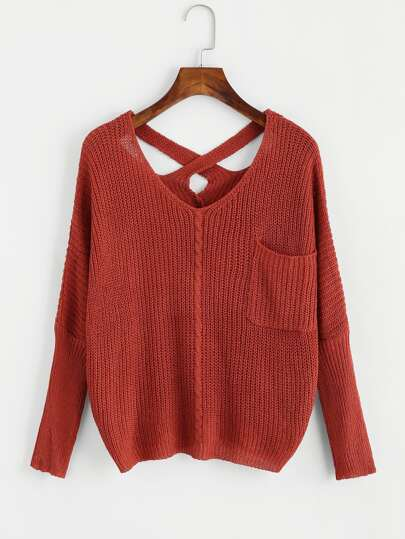 Cross Back Chunky Sweater With Chest Pocket