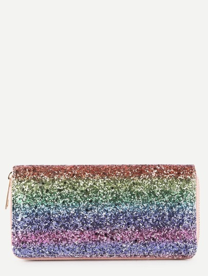 Sequin Overlay Iridescent PU Purse