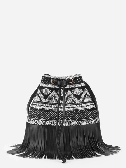 Fringe Trim Drawstring PU Backpack