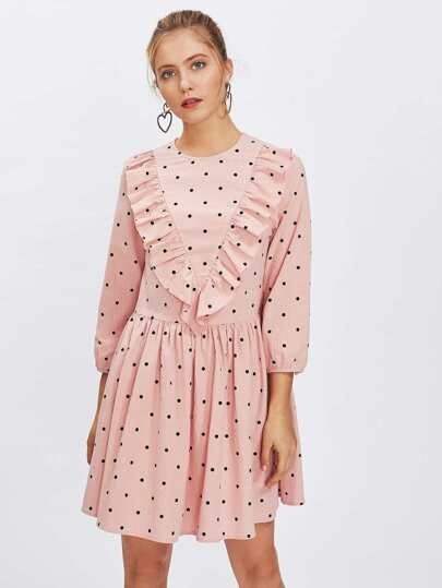 Frill Trim Polka Dot Smock Dress