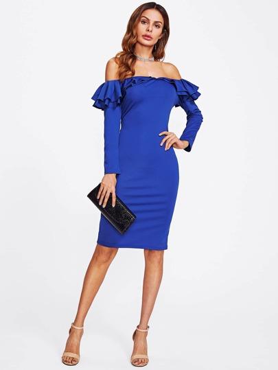 Bardot Tiered Frill Trim Dress