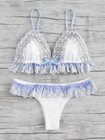 Lace Crochet Trim Ruffle Detail Bikini Set