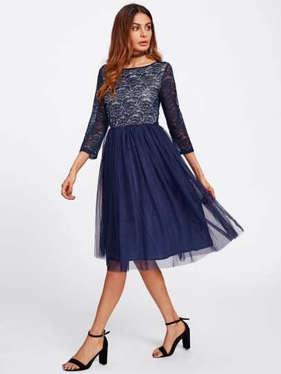 Open Back Lace Bodice Tulle Dress