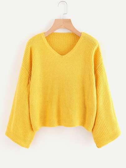 V-neckline Drop Shoulder Textured Jumper