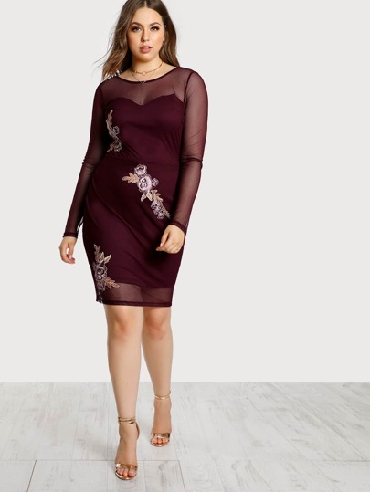 Mesh Overlay Floral Embroidered Dress