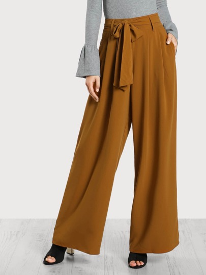 High Rise Flowy Wide Leg Pants MUSTARD