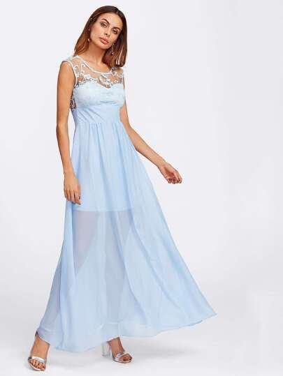 فستان واسع شبكه مطرز