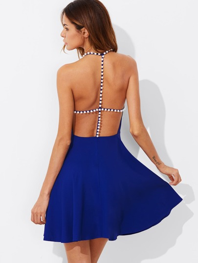Pearl Beading Strappy Back Fit & Flare Dress
