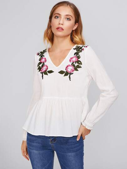 Embroidered Flower Patch Peplum Top