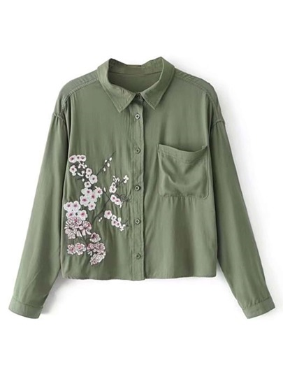 Flower Embroidery Front Pocket Blouse