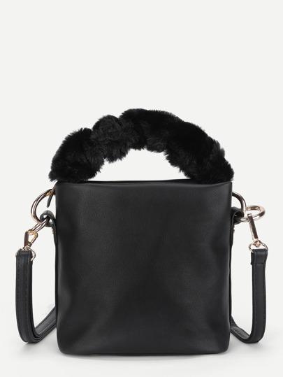 PU Shoulder Bag With Faux Fur Handle