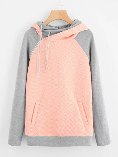 Two Tone Zip Detail Textured Hoodie