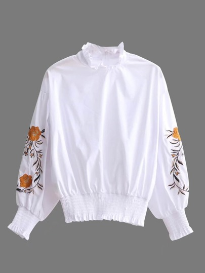Embroidery Flower Lantern Sleeve Shirred Blouse